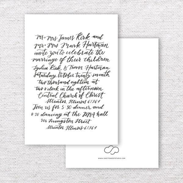 Custom Calligraphy Wedding Invitations