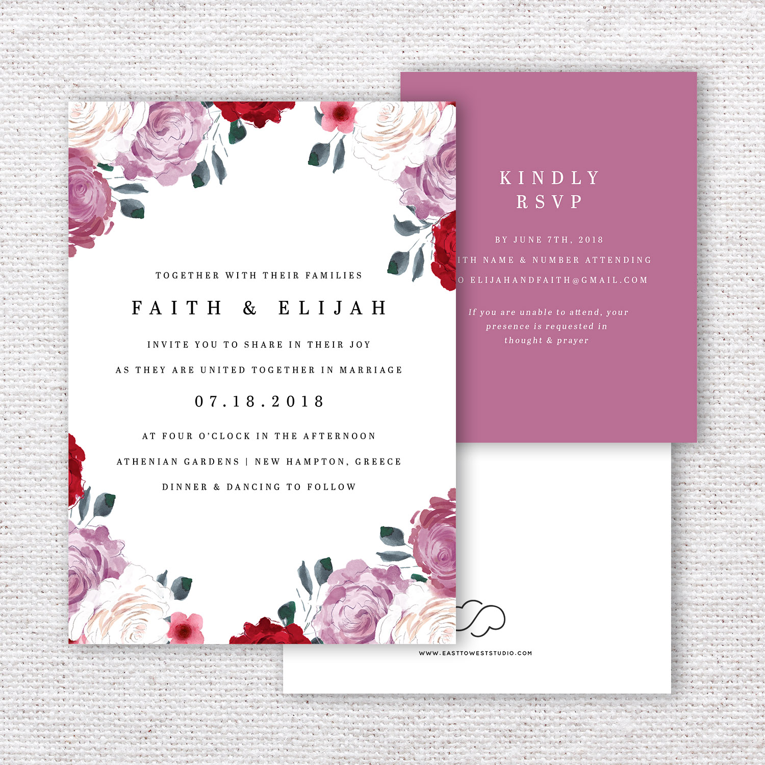 Blushing Bride Wedding Invitations